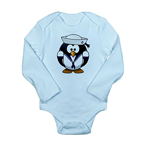 Truly Teague Long Sleeve Infant Bodysuit Little Round Penguin - Navy Sailor - Sky Blue, 18 to 24 Months