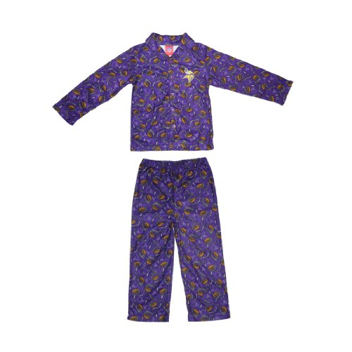 2 PCS SET: NFL Minnesota Vikings Boys Or Girls Fleece Sleepwear Pajama Top & Pants Set