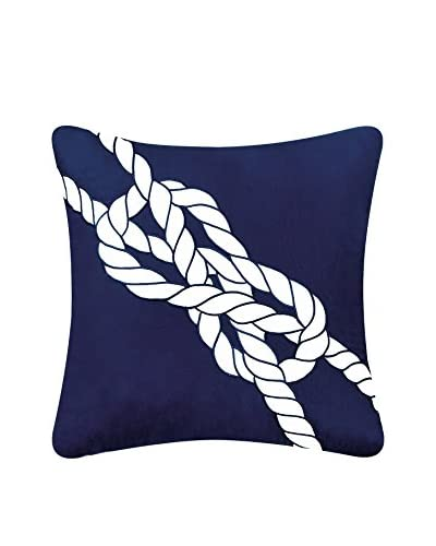 Embroidered Nautical Knot Pillow, Navy/White