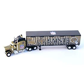 diecast car: New Orleans Saints Diecast Semi Truck Tractor Trailer