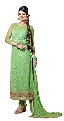 Siya Fashion women's Net Party Wear Unstitched Dress Material(si2058_ Green color)