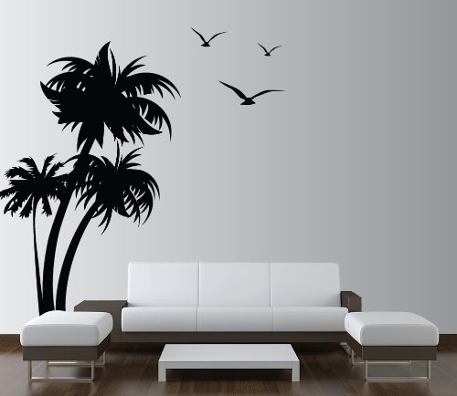 Cool Innovative Stencils Mblack Palm Coconut Tree Nursery Wall Decal With Seagull Birds White Amazon Price Buy Now Painting