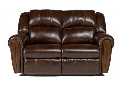 Contemporary Antique Reclining Brown Loveseat