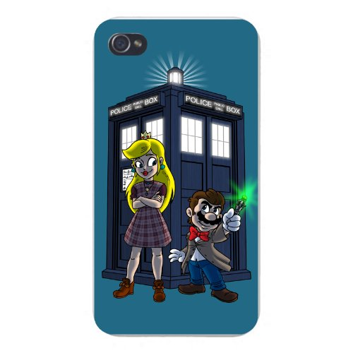 Apple Iphone Custom Case 5 / 5S White Plastic Snap On - Character Group W/ Public Call Box Funny Video Game & Doctor Science Fiction Tv Show Parody