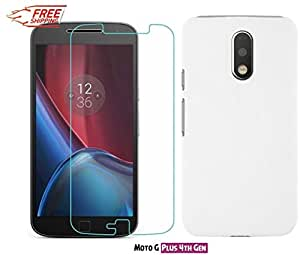 Unistuff™ Motorola Moto G Plus, 4th Gen/ Moto G 4th Gen/Moto G4/ Moto G4 Plus [COMBO OFFER] Premium Quality Tempered Glass and Matte Finish Hard Case Back Cover Accessory Combo (White)