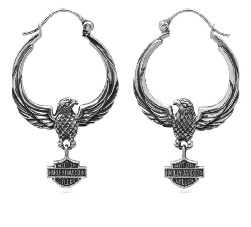 Harley-Davidson .925 Silver Circular Eagle Hoop Earrings