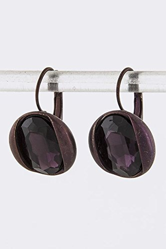 Baubles & Co Large Crystal Accent Earrings (Purple)