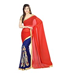 Prafful Orange-Blue Faux Georgette Embroidered Saree With Unstitched Blouse Piece