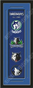 Heritage Banner Of Minnesota Timberwolves With Team Color Double Matting-Framed... by Art and More, Davenport, IA