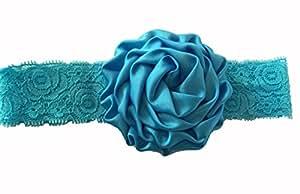 BELLAZAARA Christening Baby Blue Lace Rose Flower Headband