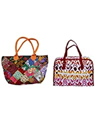 Indistar Combo Offer Women's Multicolor Cotton Handbag (Combo Pack Of 2) - B01IVWFOOU