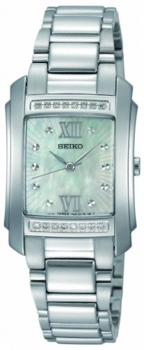Seiko Ladies Quartz Analogue Watch SRZ365P1 with Stainless Steel Bracelet 16 Diamonds and White MOP Dial
