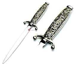 Pewter Handled 22cm Letter Opener with Stainless Steel Blade and Intricate Celtic Serpent Design