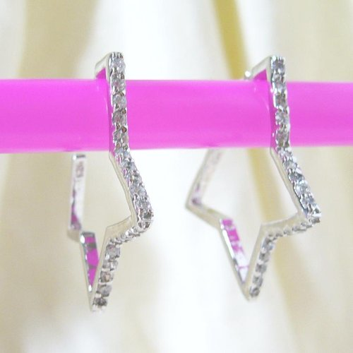 Sterling Silver CZ Star Hoop Earrings