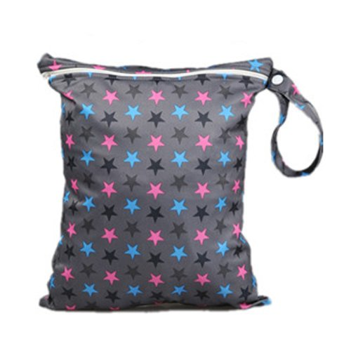 Waterproof Zipper Bag Washable Reusable Stars Pattern Baby Cloth Diaper Bag Stone front-530577