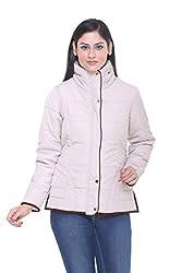 Trufit Full Sleeves Solid Women's Fawn Cream Hidden Hood High Neck Golden Zip Polyester Bomber Jacket
