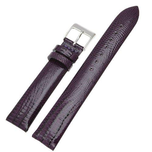 Ritche Generic 20mm Lizard Grain Patent Leather Watch Band Strap Color Purple