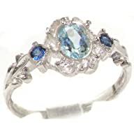 VINTAGE design 925 Solid Sterling Silver Natural Aquamarine & Sapphire Ring – Finger Sizes 4 to 12…