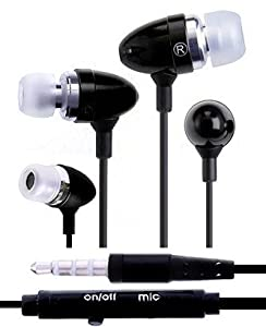 Wayzon Black Noise Isolating Sensational Sound In Ear Stereo Hands-Free Headset Headphone Earphone Earbuds With Integrated Mic / On /Off Button Suitable For Sony Ericsson Live with Walkman