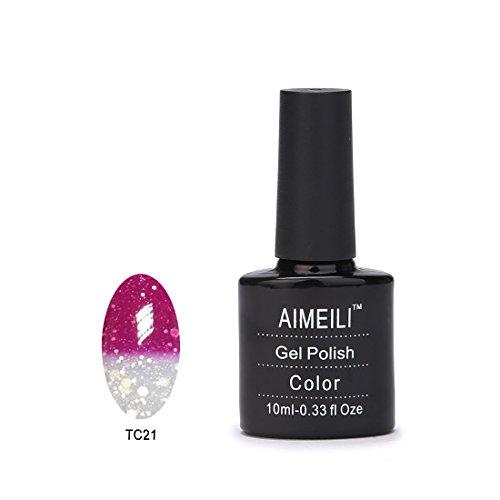 Aimeili Soak Off Uv Led Color Changing Chameleon Gel Nail Polish - Hot Pink To Glitter White Tc21 10Ml