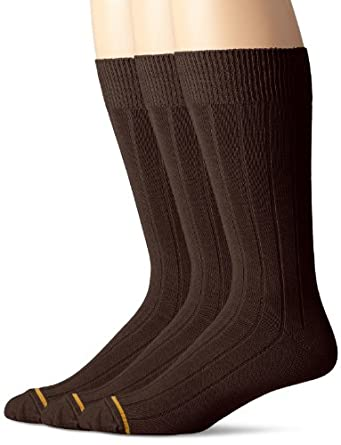 Gold Toe Men's 3-Pack Cotton Wide-Rib Crew Sock, Brown, 10-13