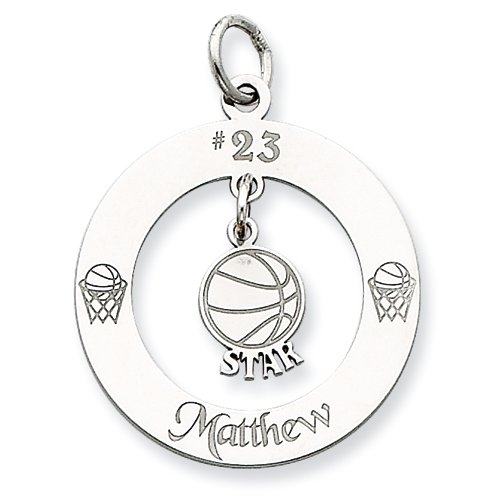 Sterling Silver Personalizable Basketball Star Charm