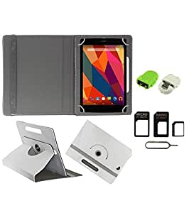 Gadget Decor (TM) PU Leather Rotating 360° Flip Case Cover With Stand For City Call Tab 720 A + Free Robot USB On-The-Go OTG Reader + Free Sim Adapter Kit - White