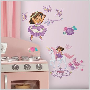Dora Enchanted Princess 26 Big Wall Stickers Flower Unicorn Room Decor Decals R2