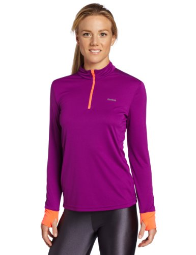 Reebok Women's 1/4 Zip Long Sleeve Top, Aubergine, Vitamin C, Small