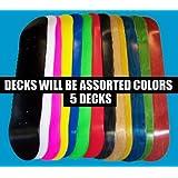 Moose Blank Skateboard Decks (Set of 5, 7.75, Assorted Colors, Grip) by Moose