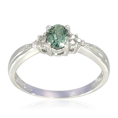 Sterling Silver Oval-Shaped Created Emerald Ring, Size 5