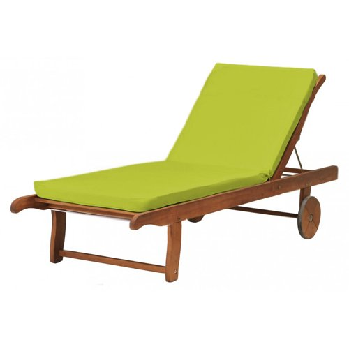 Outdoor Garden Sun Lounger Pad / Cushion in Lime, Comfortable and Lightweight. Great for Indoors and Outdoor Use, Made from High Quality Water Resistant Material.