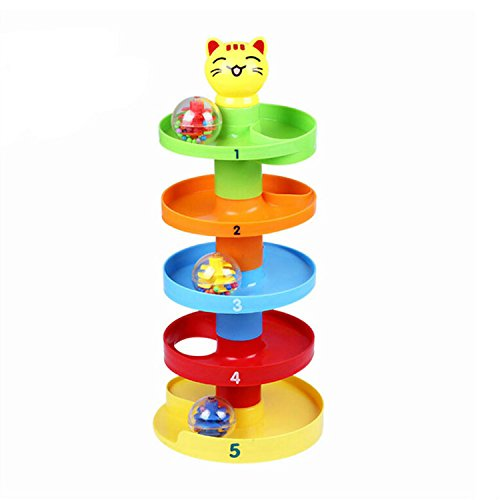 YIXIN Kitten Drop and Roll Toys Roll and Swirl Ball Ramp for Infants Babies Kids Early Education Spinning Toys BPA Free