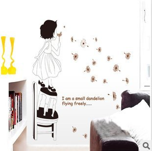 The Little Girl Cartoon Romantic Bedroom Decorative Wall Stickers front-720229