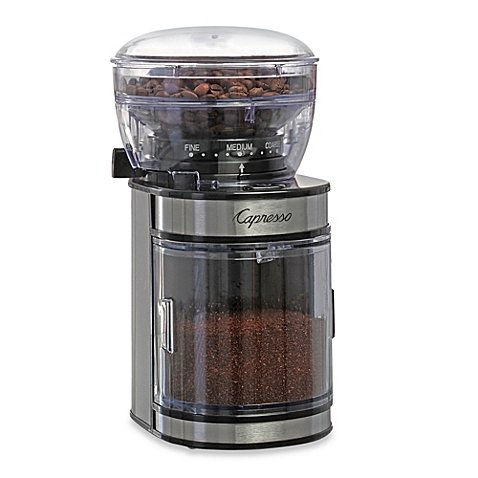 Capresso® Ceramic Burr Grinder with Stainless Steel Housing Removable ground coffee container