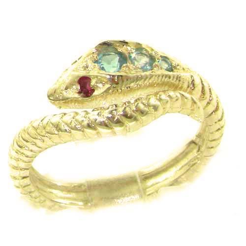 Fabulous Solid 14K Yellow Gold Natural Blue Topaz & Ruby Detailed Snake Ring - Size 9.75 - Finger Sizes 5 to 12 Available - Perfect Gift for Birthday, Christmas, Valentines Day, Mothers Day, Mom, Mother, Grandmother, Daughter, Graduation, Bridesmaid.