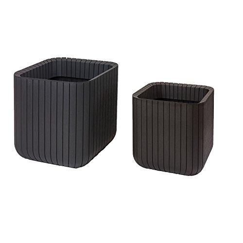 keter-indoor-outdoor-wood-style-effect-garden-planters-2-set-cube-plant-pots-brown