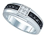 0.49 cttw 10k White Gold Black Diamond Mens Wedding Band Anniversary Ring (Real Diamonds: 1/2 cttw,…