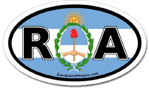 Argentina RA for Republica Argentina in Spanish and Argentinian Flag Car Bumper Sticker Decal Oval цена 2016