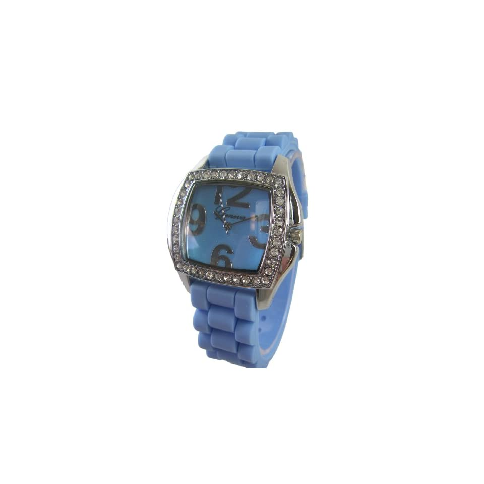 Square Watch with Baby Blue Silicone Band   Womens Fashion Watch