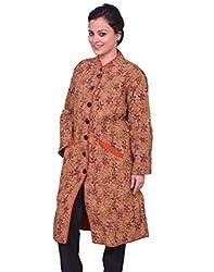 Chhipa Women Hand Printed Brown Coat(1018_Brown_48)