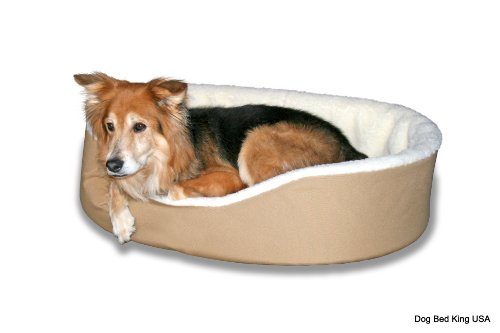 """Dog Bed King Usa Cuddler. Xl- Extra Large. Outside Dim. 42X32X7"""". Inside Dim. 38X28X7"""". Tan With Imitation Lambswool Interior. Removable Washable Cover. front-41042"""