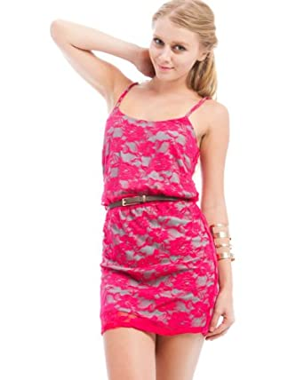 MOD 20 Women's Belted Lace Dress Fuchsia L(INK6441450)