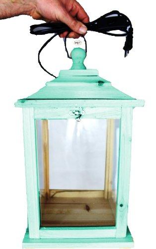 Große Holzlaterne, als Glasvitrine mit Beleuchtung, mit Glas und Holz - Rahmen, KL-OFOS-TÜRKIS türkis amazon meeresblau blau