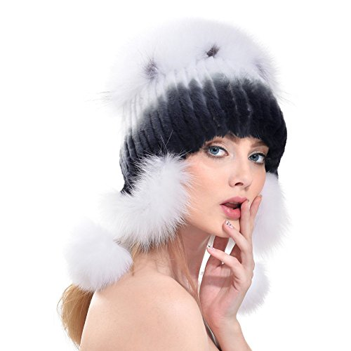 349f38d0437 Queenfur Real Knit Rex Rabbit Fur Hat Bomber Beanie Natural Fox Fur Pom Cap  (Color5)