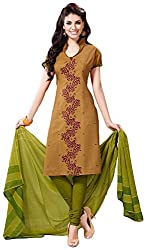SHREENATHJI ENTERPRISE Women's Cotton Unstitched Dress Material (Beige)