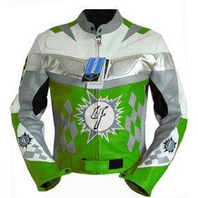 4LIMIT Sports blouson motocyclette en cuir veste moto motard vert