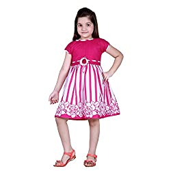 NAVEENS Cotton Pink Round Neck Party wear Dress for Girls