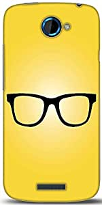 Snoogg Hipster Glasses Yellow Designer Protective Back Case Cover For HTC One S