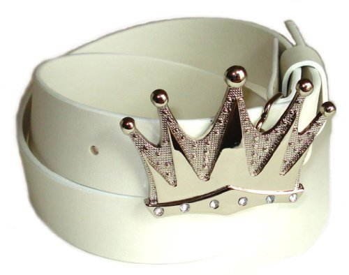 BeltsandStuds Man Women White snap on belt with Silver Crown buckle S 32 White